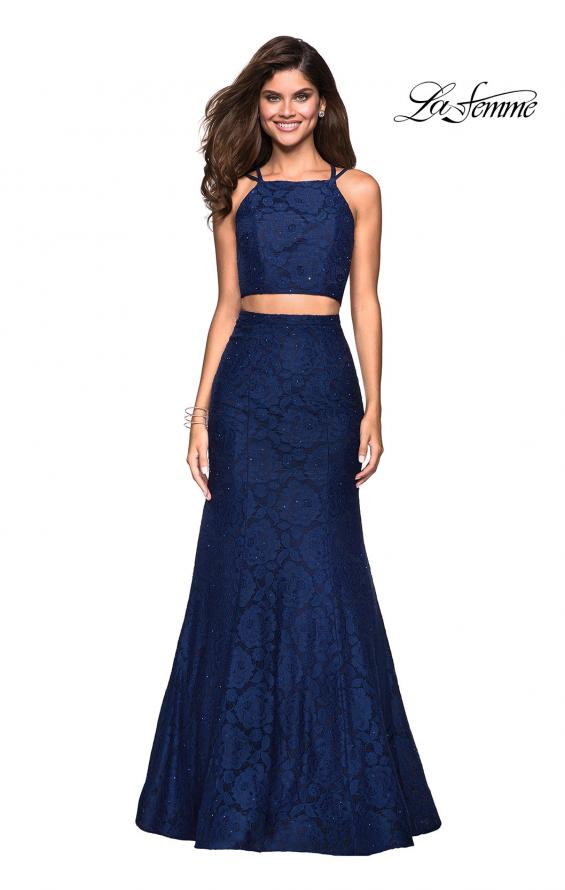 Picture of: Two Piece Stretch Lace Prom Dress with Strappy Back in Navy, Style: 27452, Main Picture