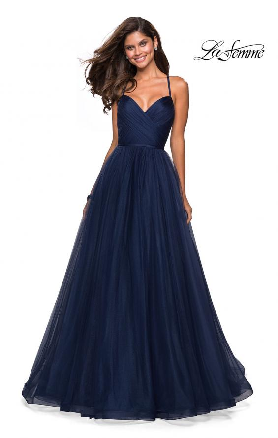 Picture of: Simple Tulle Prom Dress with Sweetheart Neckline in Navy, Style: 27535, Main Picture