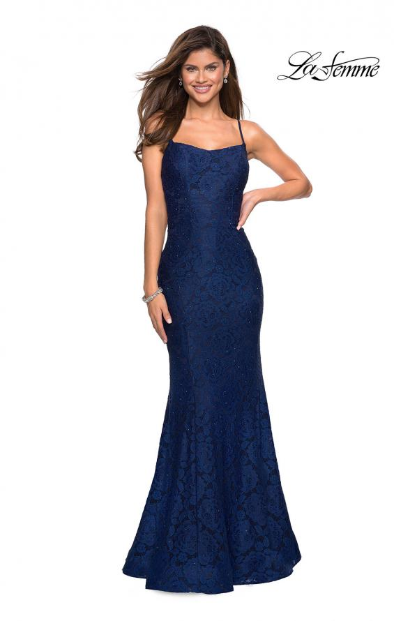 Picture of: Stretch Lace Gown with Square Neckline and Open Back in Navy, Style: 27565, Main Picture