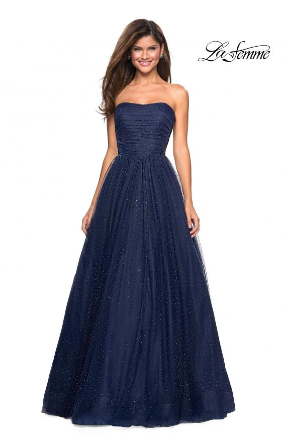 Picture of: Strapless Fully Rhinestone A-Line Prom Dress in Navy, Style: 27630, Main Picture