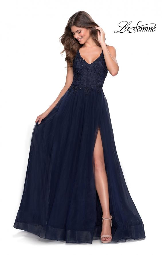 Picture of: Pretty A-line Prom Dress with Sheer Floral Bodice in Navy, Style: 28680, Main Picture