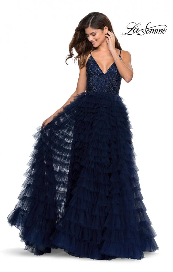 Picture of: Layered Tulle Prom Dress with Sheer Rhinestone Top in Navy, Style: 28788, Main Picture