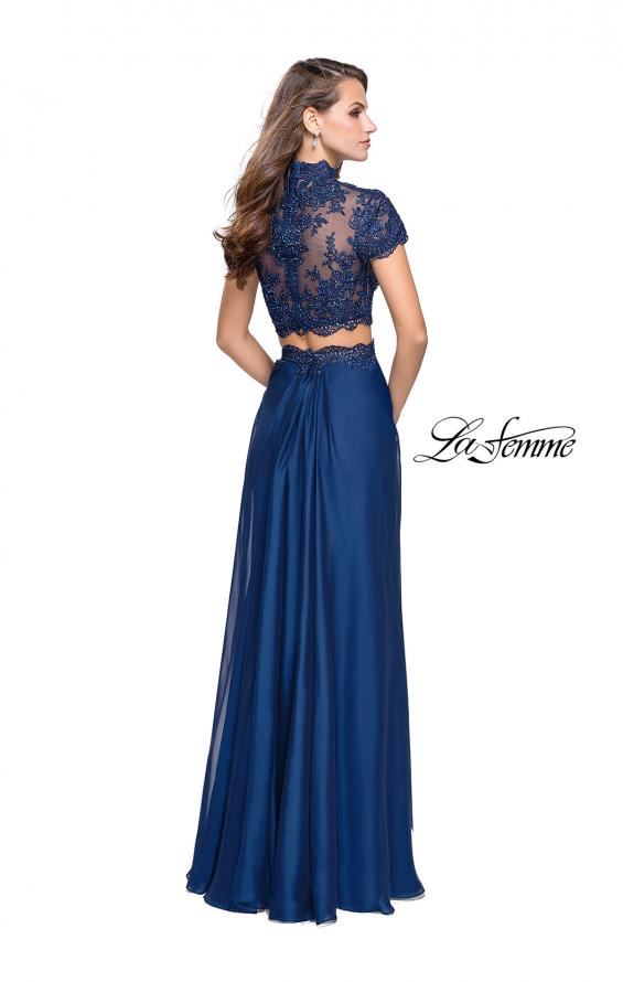 Picture of: Chiffon Two Piece Gown with Lace Top and Belt Detail, Style: 25384, Back Picture