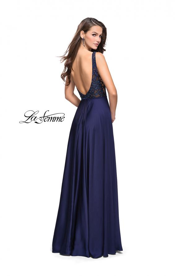 Picture of: Long A line Prom Dress with Lace Up Side Cut Outs in Navy, Style: 25436, Back Picture