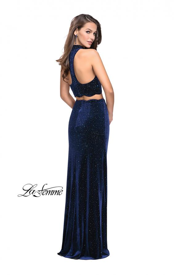 Picture of: Two Piece Velvet Prom Dress with Scallop Detail and Slit, Style: 25667, Back Picture