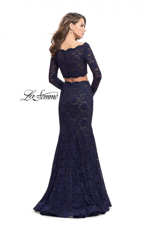 Picture of: Mermaid Style Lace Two Piece Dress with Scalloped Trim in Navy, Style: 25668, Back Picture