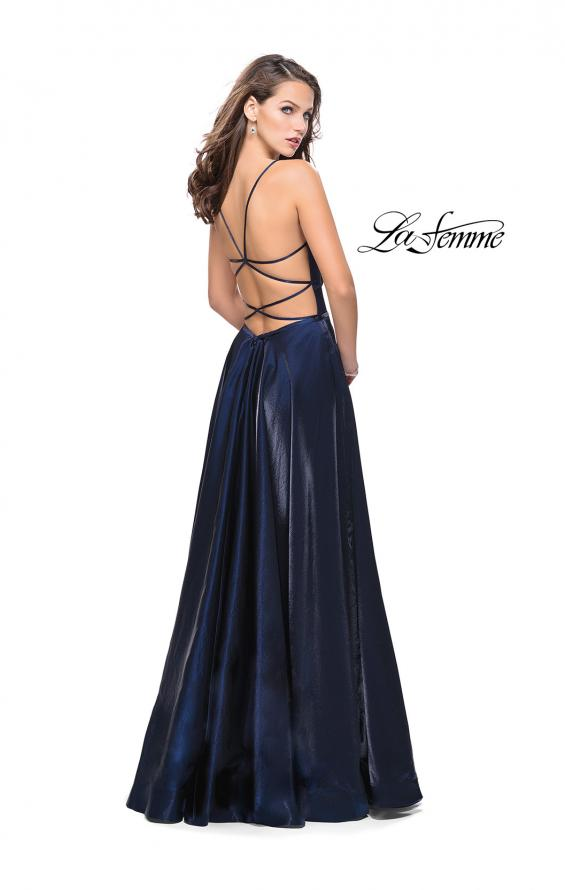 Picture of: Satin A-line Gown with Deep V Sweetheart Neckline in Navy, Style: 25670, Back Picture