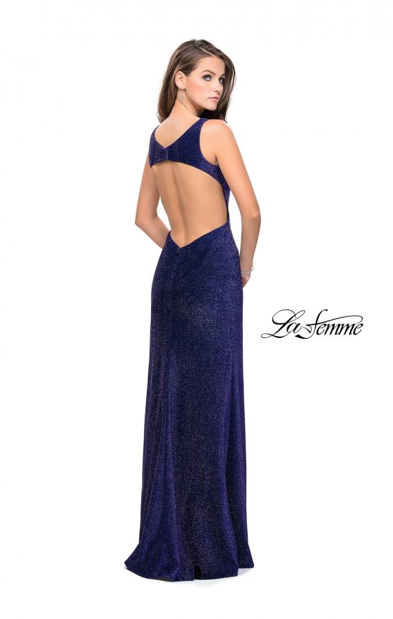 Picture of: Sparkling Jersey Prom Dress with Open Diamond Back, Style: 25869, Back Picture