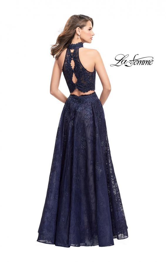 Picture of: Long Lace A-line Two Piece Prom Dress with Cut Outs in Navy, Style: 26103, Back Picture