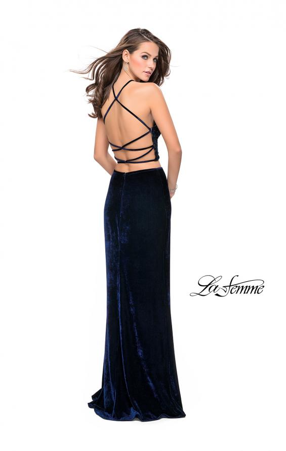 Picture of: Long Velvet Two Piece Prom Dress with Printed Bodice, Style: 26115, Back Picture