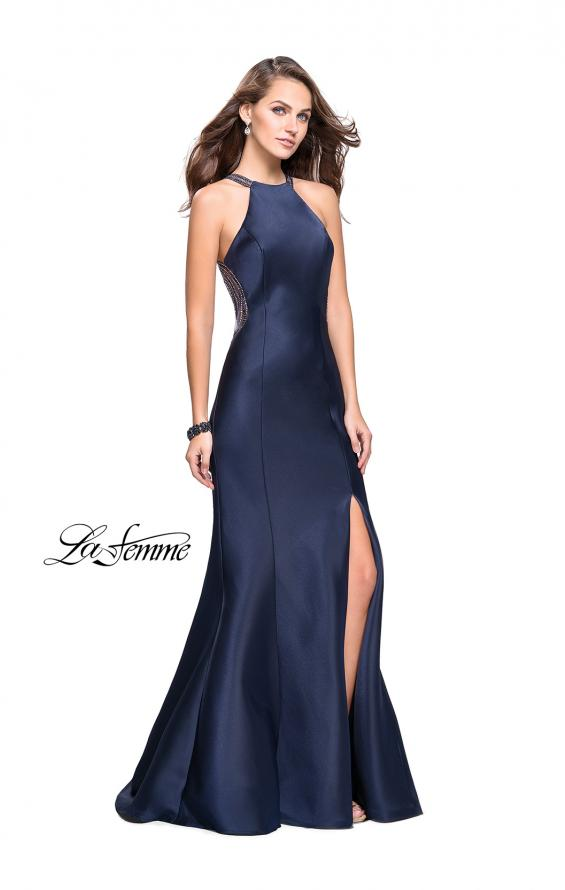 Picture of: Mikado Mermaid Dress with High Neck and Beading in Navy, Style: 26181, Back Picture