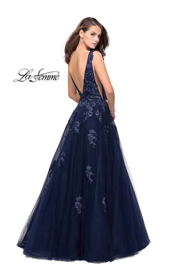 Picture of: Tulle Ball Gown with Beading, Lace, and Mesh Detailing in Navy, Style: 26334, Back Picture