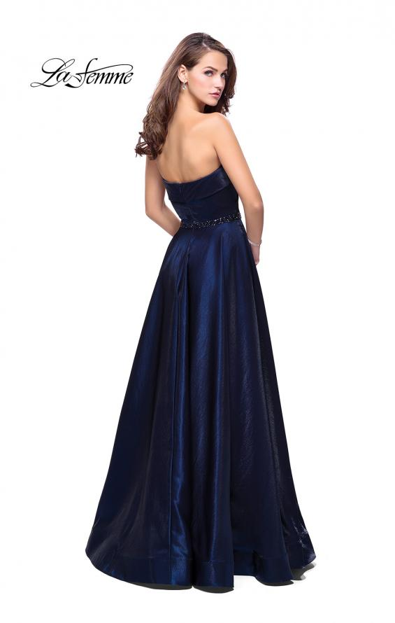 Picture of: Long Strapless Satin A-line Prom Dress with Pockets in Navy, Style: 26340, Back Picture
