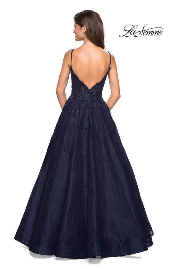 Picture of: Lace Detail Long A Line Prom Dress with Open Back in Navy, Style: 27030, Back Picture