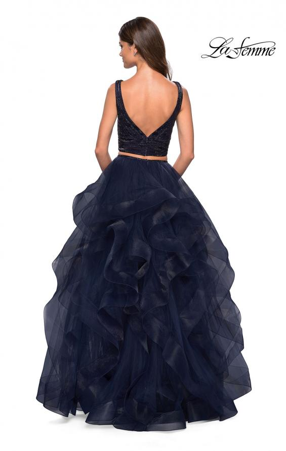 Picture of: Two Piece Metallic Tulle Dress with Rhinestone Bust in Navy, Style: 27445, Back Picture