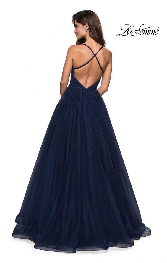 Picture of: Simple Tulle Prom Dress with Sweetheart Neckline in Navy, Style: 27535, Back Picture
