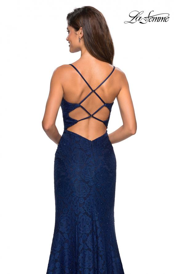 Picture of: Stretch Lace Gown with Square Neckline and Open Back in Navy, Style: 27565, Back Picture