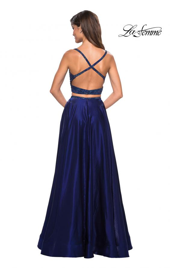 Picture of: Two PIece Satin Prom Dress with Rhinestone Top in Navy, Style: 27607, Back Picture