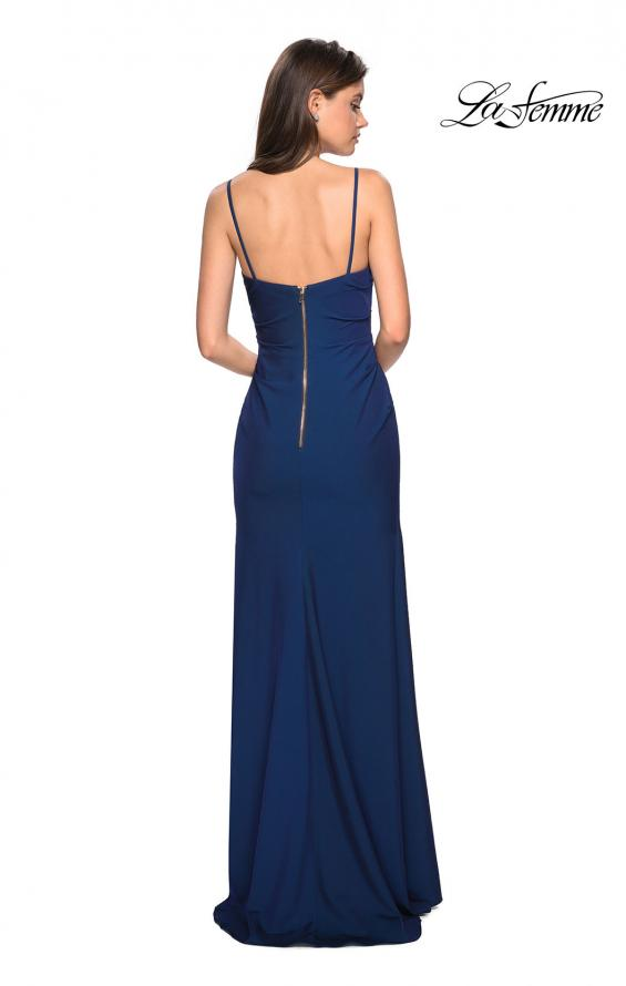 Picture of: Classic Long Jersey Gown with Side Ruching and Slit, Style: 27626, Back Picture