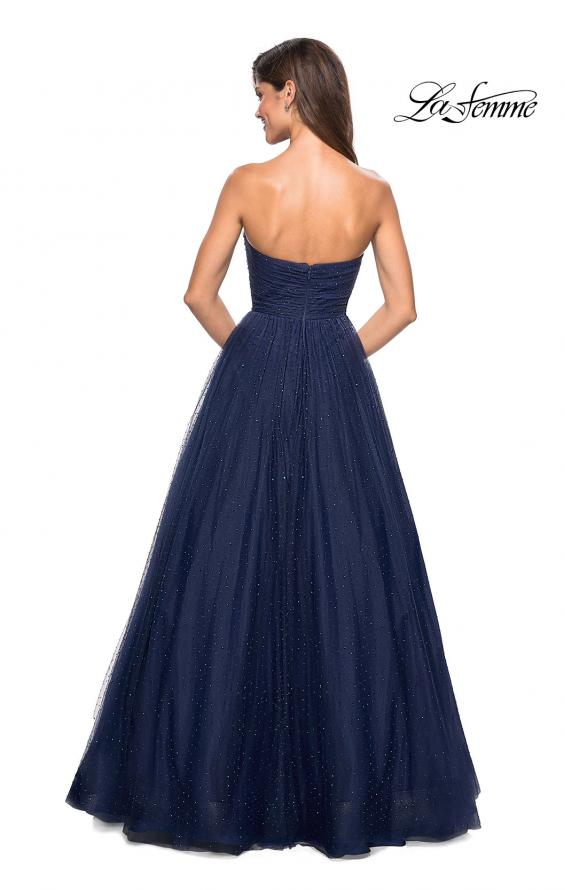 Picture of: Strapless Fully Rhinestone A-Line Prom Dress in Navy, Style: 27630, Back Picture