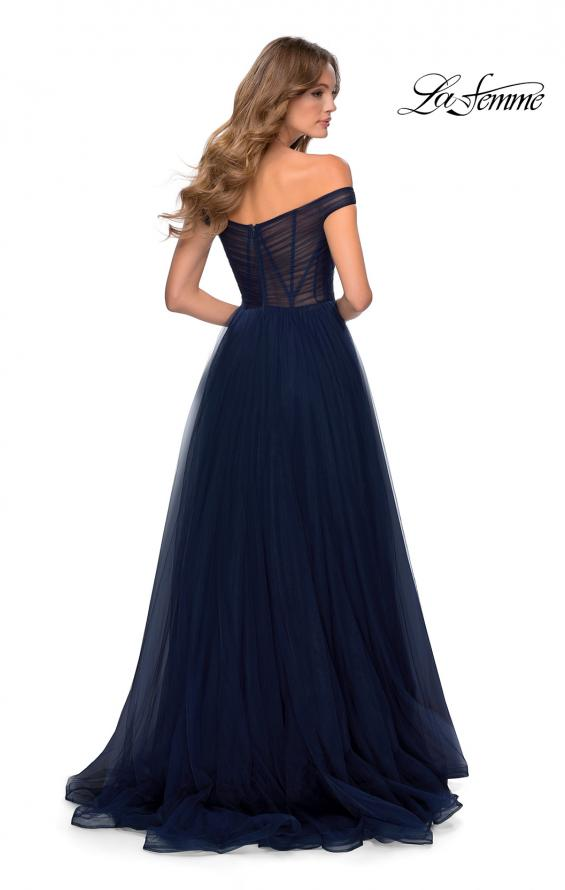 Picture of: Off The Shoulder Tulle Prom Dress with Sheer Bodice in Navy, Style: 28462, Back Picture