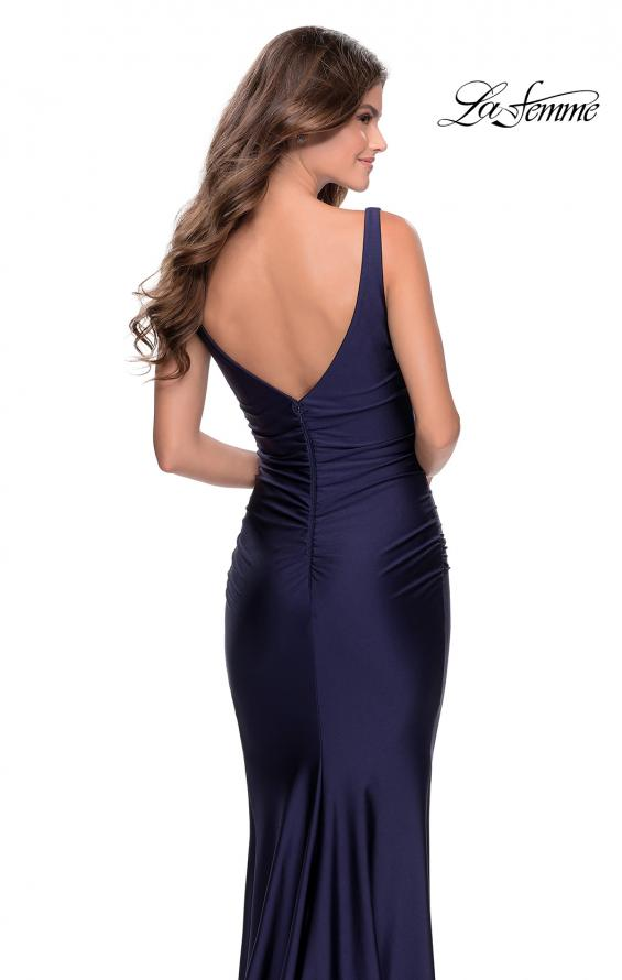 Picture of: Long Jersey Prom Dress with Full V-Shaped Back in Navy, Style: 28634, Back Picture