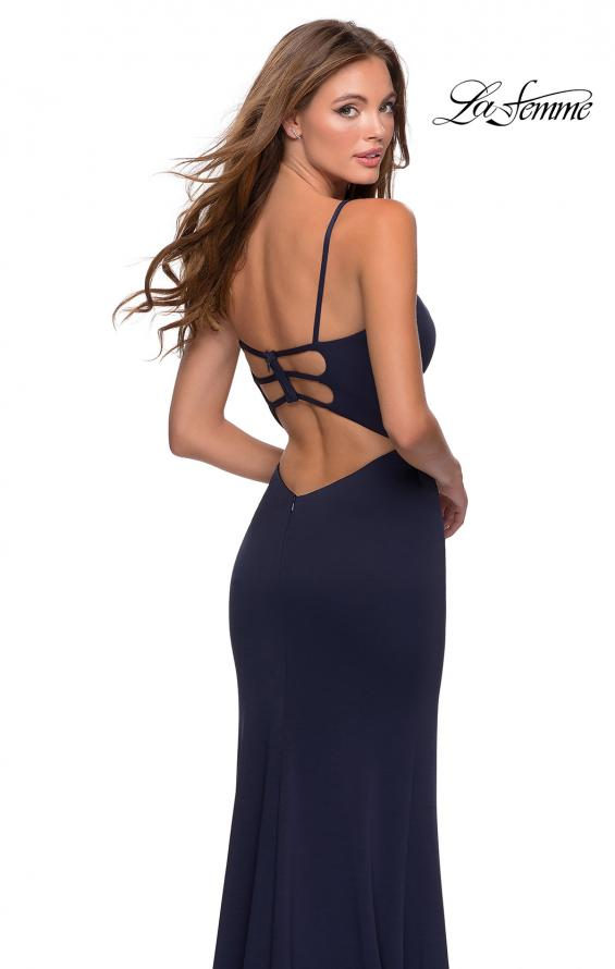 Picture of: Jersey Prom Gown with Lace Up Back and Slit in Navy, Style: 28653, Back Picture