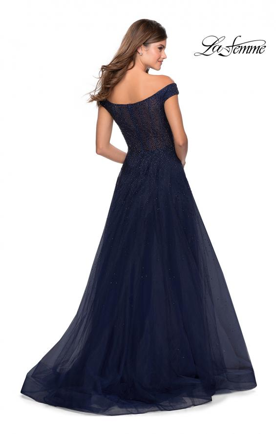 Picture of: Off The Shoulder Beaded Tulle Prom Dress in Navy, Style: 28774, Back Picture
