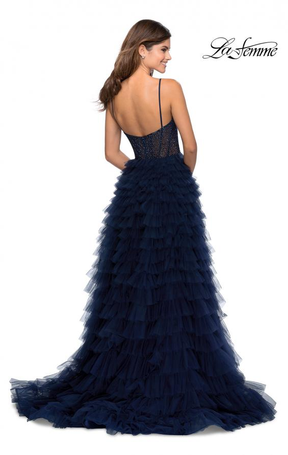 Picture of: Layered Tulle Prom Dress with Sheer Rhinestone Top in Navy, Style: 28788, Back Picture