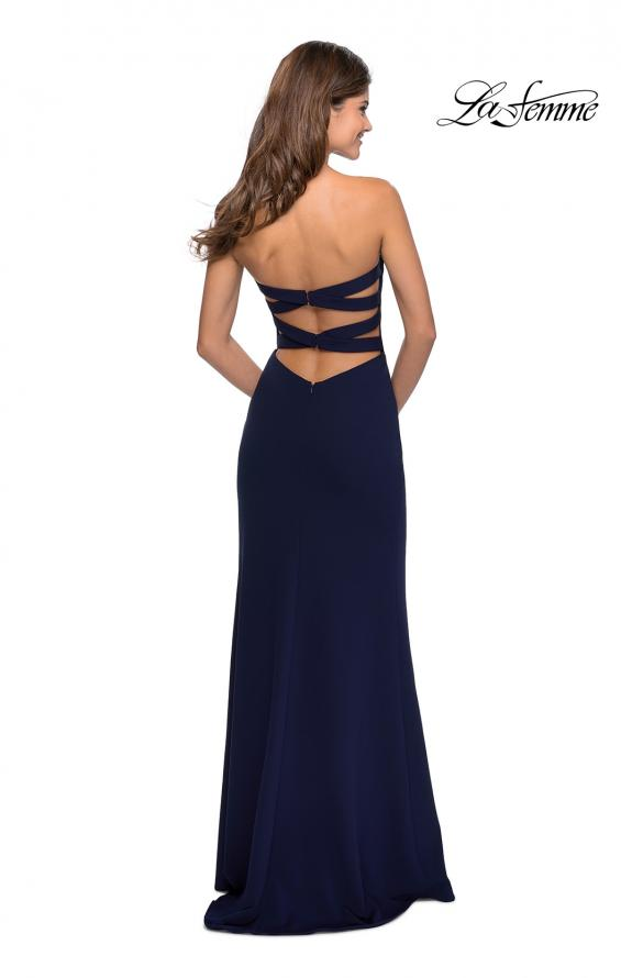 Picture of: Strapless Double Strap Long Jersey Prom Dress in Navy, Style: 28835, Back Picture
