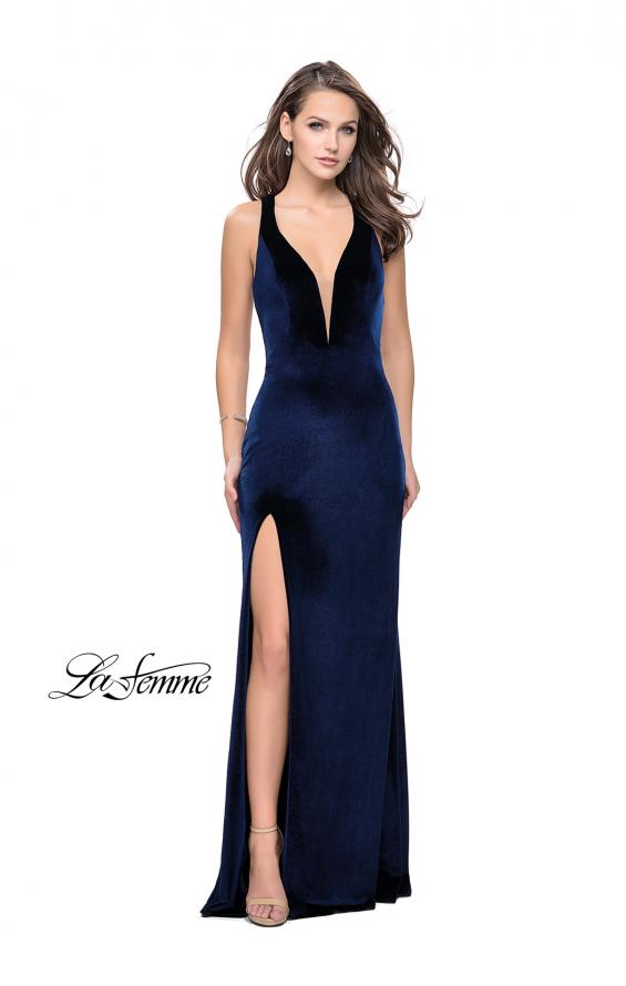 Picture of: Long Velvet Prom Dress with Deep V and Side Leg Slit in Navy, Style: 25363, Detail Picture 1