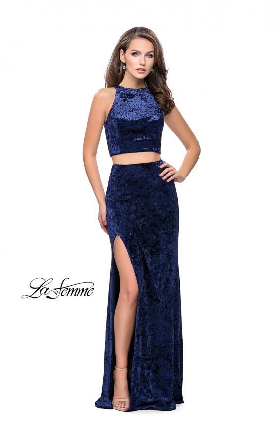 Picture of: Crush Velvet Two Piece Prom Dress with Slit in Navy, Style: 25431, Detail Picture 1