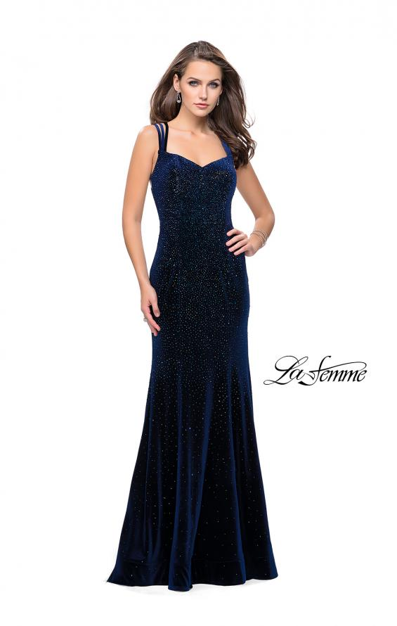 Picture of: Velvet Form Fitting Prom Dress with Intricate Back in Navy, Style: 25681, Detail Picture 1