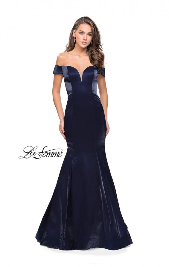 Picture of: Off the Shoulder Satin Prom Dress with Strappy Back in Navy, Style: 25764, Detail Picture 1