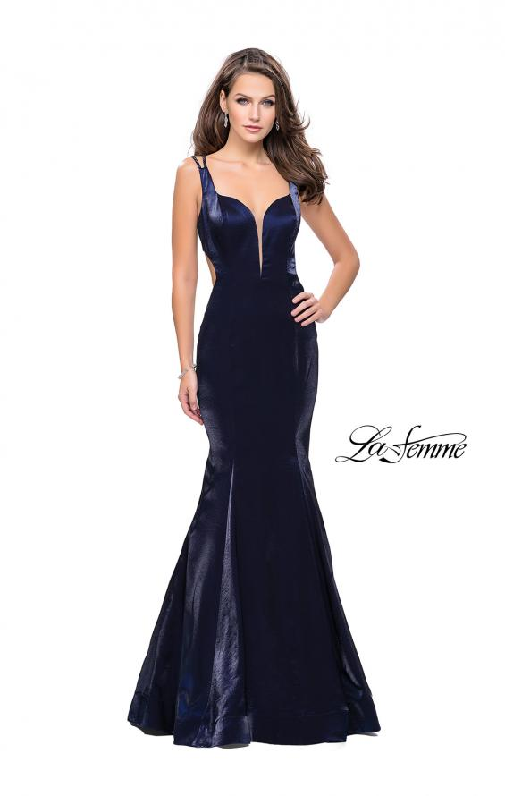 Picture of: Form Fitting Mermaid Prom Dress with Side Cut Outs in Navy, Style: 25813, Detail Picture 1