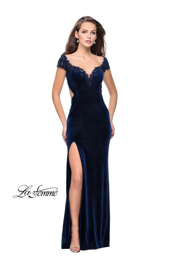 Picture of: Long Off the Shoulder Prom Dress with Beads and Lace in Navy, Style: 25823, Detail Picture 1
