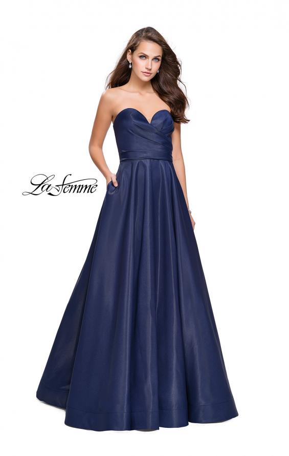 Picture of: Strapless Ball Gown with Wrapped Bodice and Pockets in Navy, Style: 25953, Detail Picture 1