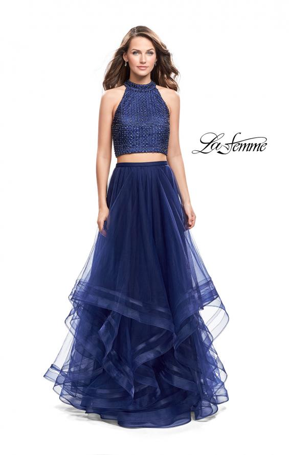 Picture of: Two Piece Prom Gown with Ruffle Tulle Skirt and Beading, Style: 26077, Detail Picture 1