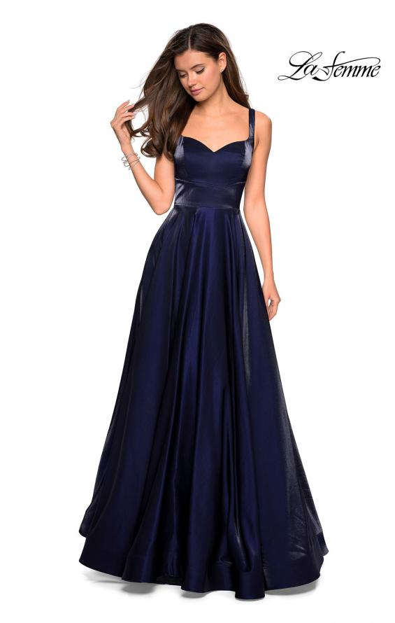 Picture of: Sweetheart Neckline Satin Long Prom Gown in Navy, Style: 27227, Detail Picture 1