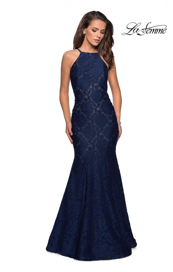 Picture of: Long Lace Prom Dress with High Neckline in Navy, Style: 27289, Detail Picture 1
