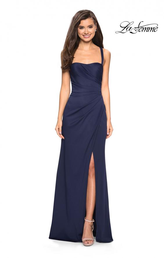 Picture of: Long Jersey Gown with Size Ruching and Slit in Navy, Style: 27470, Back Picture