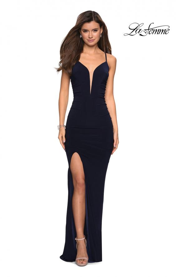 Picture of: Body Hugging Long Jersey Prom Dress with Ruching in Navy, Style: 27720, Detail Picture 1