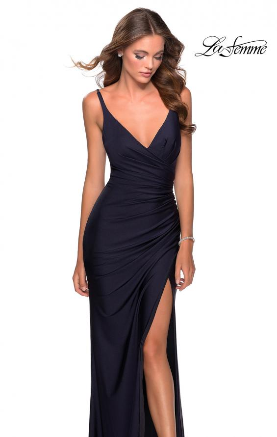 Picture of: Ruched Jersey Prom Dress with Tie Up Back in Navy, Style: 28421, Detail Picture 1
