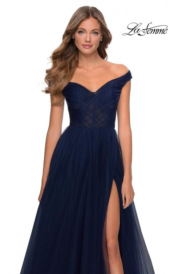 Picture of: Off The Shoulder Tulle Prom Dress with Sheer Bodice in Navy, Style: 28462, Detail Picture 1