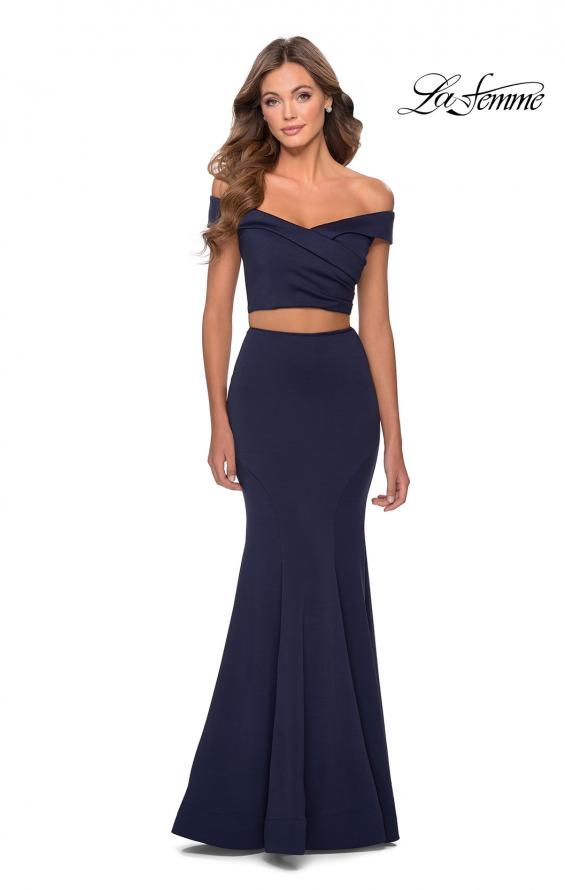 Picture of: Two Piece Off The Shoulder Dress with Pleated Top in Navy, Style: 28521, Detail Picture 1