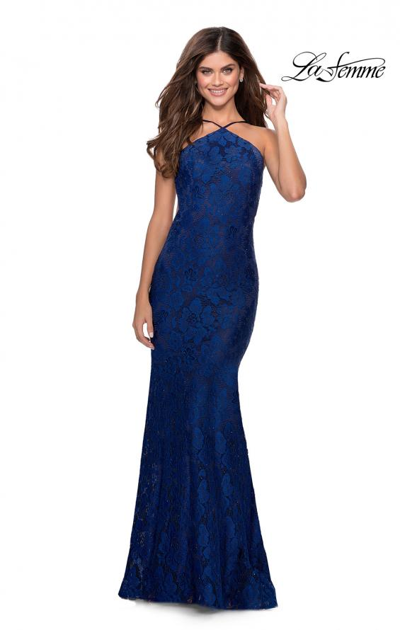 Picture of: Open Back Jersey Prom Dress with High Neckline in Navy, Style: 28619, Detail Picture 1