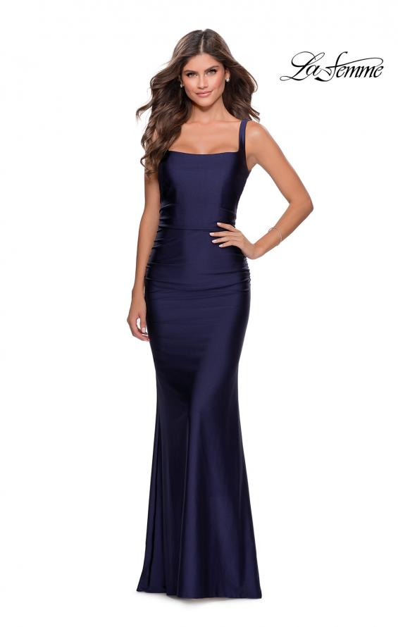 Picture of: Long Jersey Prom Dress with Full V-Shaped Back in Navy, Style: 28634, Detail Picture 1