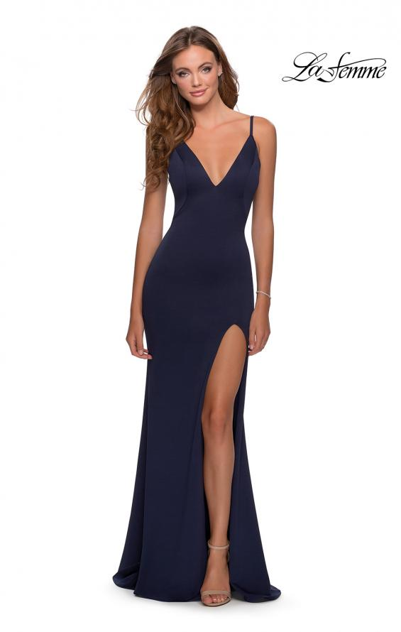Picture of: Jersey Prom Gown with Lace Up Back and Slit in Navy, Style: 28653, Detail Picture 1