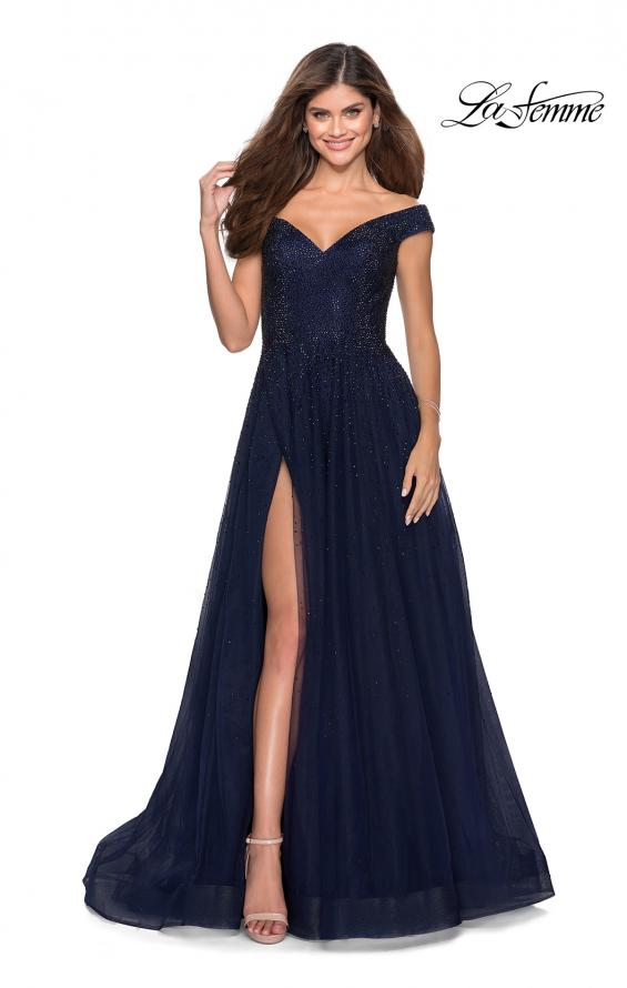Picture of: Off The Shoulder Beaded Tulle Prom Dress in Navy, Style: 28774, Detail Picture 1
