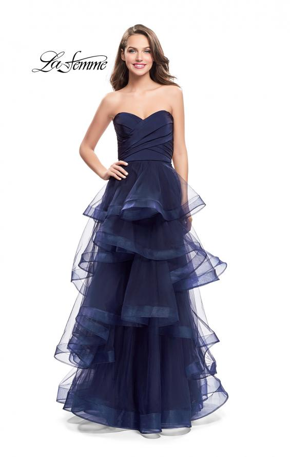 Picture of: Long Tulle Gown with Sweetheart Neckline in Navy, Style: 25430, Detail Picture 2